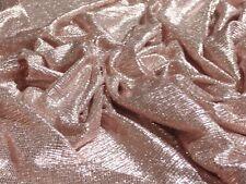 LIGHTWEIGHT PLISSE FOIL-ROSE GOLD -DRESS FABRIC-FREE P&P