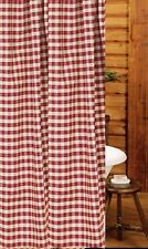 Primitive Country Heritage House Barn Red Shower Curtain 72X72 Check Cotton