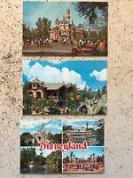 3 Vintage DisneyLand Postcards