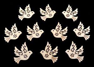 Holzstreuteile Vögel Tauben 10 Stück Holzdeko