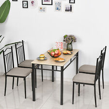 5 Pieces Dining Set 1 Table 4 Chairs Cushion Seat Wood Color for Home Kitchen