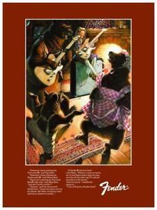 """Fender Guitars POSTER - 24"""" Promo ad - Goldilocks & 3 Bears P Bass Stratocaster"""