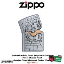 Zippo Safe with Gold Cash Surprise Emblem Lighter Street Chrome #29555