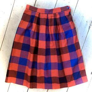 Vintage Retro Bold Tesco 1970's Checked Skirt Size 10/12