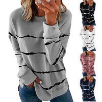 Womens Striped Long Sleeve T Shirt Crew Neck Tunic Tops Loose Blouse Sweatshirt
