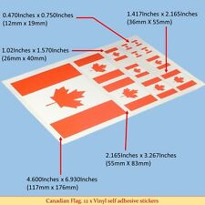 Canadian Flag Sticker: 12 x Vinyl Sticker Decals Adhesive Backing