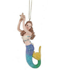 Colorful Resin Mermaid with Sea Shells and Brunette Hair Ornament by Midwest-CBK