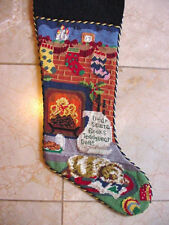 "Vtg Wool Needlepoint Christmas Stocking Hung Fireplace SantaCookies List Dog 24"""
