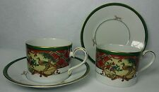 NORITAKE china ROYAL HUNT #3930 pattern Two (2) Cup & Saucer Sets - 2-1/2""