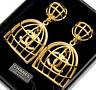 CHANEL CC logos Birdcage Dangle Earrings Gold tone Clip-On 29 w/BOX v1847
