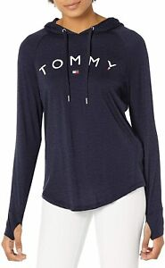 Tommy Hilfiger Womens Hoodie Blue Size XL Pullover Sweater Logo Print $49 130