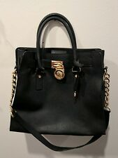 MICHAEL KORS Hamilton Tote Black Leather Purse Handbag Satchel w/ Novelty Lock