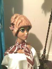 50's Vintage Tan Fur Slouch Hat
