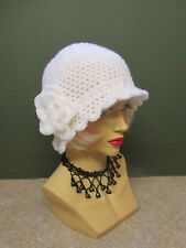1920s CLOCHE/DOWTON ABBEY/ BEANNIE HAND CROCHET HAT WITH FLOWER