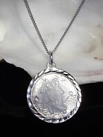 Sterling Silver 925 Large St Saint Christopher Pendant Necklace 16/18/20'' Chain