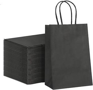 "100 Pcs Black Kraft Paper Bags 5.25"" X 3.75"" X 8"", Craft Paper Bags w/ Handles"