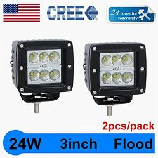 2X 3inch 24W CREE LED Work Light Cube Pods Offroad Boat Flood Driving Lamp INTEN