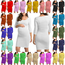 WMD Women Ladies 3/4 Short Sleeve Scoop Neck Pregnancy Nursing MATERNITY DRESS