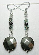 Dangle earrings - 12mm. Hematite discs + glass beads