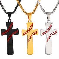 Men Boy Baseball Cross Pendant Strength Bible Verse Stainless Steel Necklace