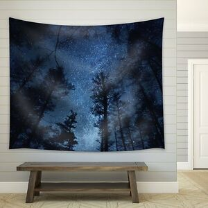 Starry Sky Above a Forest - Fabric Tapestry - Home Decor - 51x60 inches