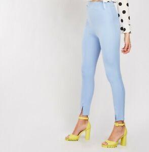 Womens Ladies New Slit-Hem Cropped Crepe Stretch Trousers Sky Blue by Quiz Elast