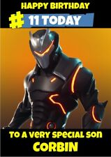 personalised birthday card Fortnite Omega any name/age/relation.