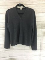 FOR THE REPUBLIC Cashmere Sweater Soft VNeck Women Pullover Charcoal Gray LARGE
