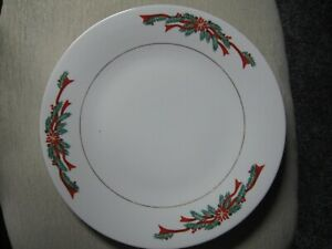 """1 Tienshan Poinsettia Ribbon Dinner Plate Christmas Replacement Plate 10 1/2"""""""