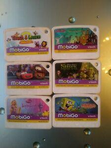 Vtech MobiGo Lot of 6 Game Cartridges SpongeBob Cars, Shrek, Tangled, cars,