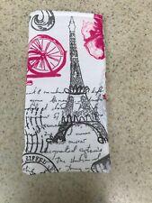 Sunglass / Eyeglass Soft Cotton Fabric Case -  Paris - Pink & Gray on White
