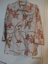 Alfred Dunner 3/4 Sl Beige Floral w/ Sheer Floral Cut Outs- 12