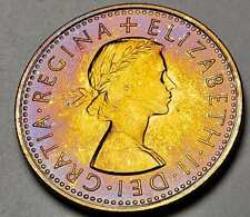 New listing 1970 Great Britain Sixpence Proof Unc Color Toned Beautiful Golden Blue (Dr)
