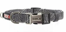 KONG REFLECTIVE Rope DOG COLLAR Reflective Stitch Purple/Gray S-XL Sizes