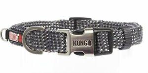 KONG REFLECTIVE Rope DOG COLLAR Reflective Stitch Purple/Gray S-XL Sizes