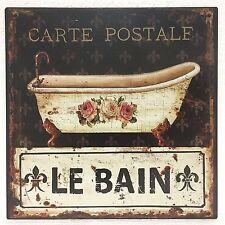 Plaque en tôle décoration LE BAIN SALLE DE BAIN BAIGNOIRE ancien aspect 30x30cm