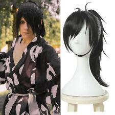 Dororo Hyakkimaru Black Cosplay Wig Long Straight Clip Ponytail Hair Women Mens