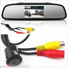 Mini 18.5mm CCD Car Reversing Backup Camera & Rearview Mirror LCD Color Monitor