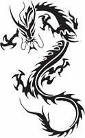 Framed Print - Black Tattoo Style Japanese Dragon (Picture Oriental Asian Art)