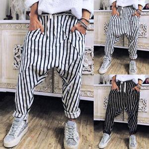 ZANZEA Damenmode Harem Striped Hose Baggy Freizeit Lose Hip Hop Haremhose Pants