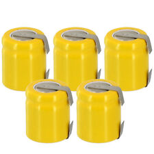 5x Exell 1/3AA NiCD 200mAh 1.2V Flat top Rechargeable Battery with Tabs