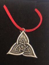 "CELTIC TRIANGLE DR55 Made From Fine English Pewter On a 18"" Red Cord Necklace"