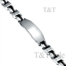 T&T 316L Solid Stainless Steel ID Bracelet (BBR139)