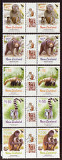 NEW ZEALAND 2004 YEAR OF THE MONKEY GUTTER PAIRS UNMOUNTED MINT, MNH