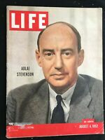 LIFE MAGAZINE - Aug 4 1952 - ADLAI STEVENSON / White Supremacy / Olympic Games