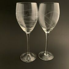 """Clear Wine Glass Glasses Etched Swirl Lines 9 1/8"""" Lot of 2"""