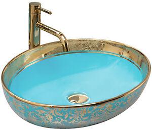 LAVABO MARGOT BLUE/GOLD VASQUE EN CERAMIQUE A POSER 52X40 MODERNE REA TOP