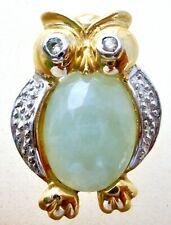 10K Oro Amarillo Colgante Buho con Verde Jade Gema Vientre Peridoto Ojos Slide