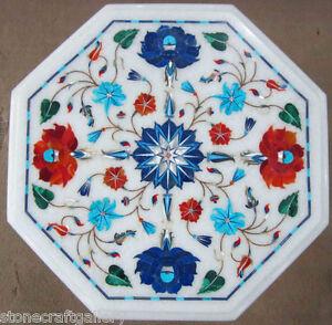 "12"" Marble Center Table Top Marble Inlay Pietra Dura Decorative Handmade Work"
