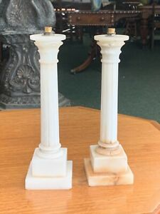 Pair Of Antique Neoclassical White Alabaster Column Only For Table Lamp Italian